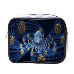 Fractal Balls Flying Ultra Space Circle Round Line Light Blue Sky Gold Mini Toiletries Bags by Mariart