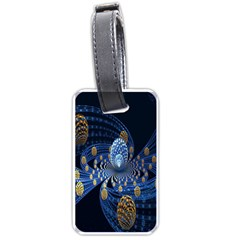 Fractal Balls Flying Ultra Space Circle Round Line Light Blue Sky Gold Luggage Tags (one Side)  by Mariart