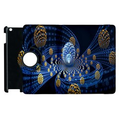 Fractal Balls Flying Ultra Space Circle Round Line Light Blue Sky Gold Apple Ipad 3/4 Flip 360 Case by Mariart