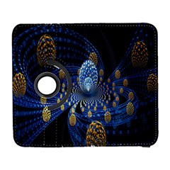 Fractal Balls Flying Ultra Space Circle Round Line Light Blue Sky Gold Galaxy S3 (flip/folio) by Mariart