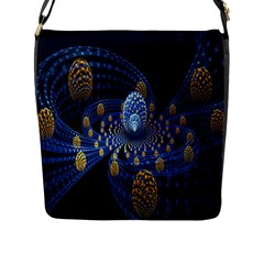 Fractal Balls Flying Ultra Space Circle Round Line Light Blue Sky Gold Flap Messenger Bag (l)  by Mariart