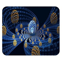 Fractal Balls Flying Ultra Space Circle Round Line Light Blue Sky Gold Double Sided Flano Blanket (small)  by Mariart