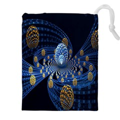 Fractal Balls Flying Ultra Space Circle Round Line Light Blue Sky Gold Drawstring Pouches (xxl) by Mariart