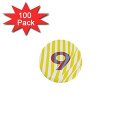 Number 9 Line Vertical Yellow Red Blue White Wae Chevron 1  Mini Buttons (100 Pack)  by Mariart