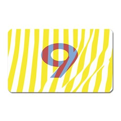 Number 9 Line Vertical Yellow Red Blue White Wae Chevron Magnet (rectangular) by Mariart