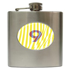 Number 9 Line Vertical Yellow Red Blue White Wae Chevron Hip Flask (6 Oz) by Mariart