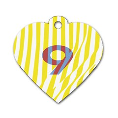 Number 9 Line Vertical Yellow Red Blue White Wae Chevron Dog Tag Heart (two Sides) by Mariart