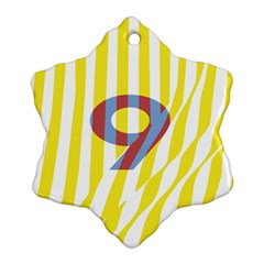 Number 9 Line Vertical Yellow Red Blue White Wae Chevron Snowflake Ornament (two Sides) by Mariart