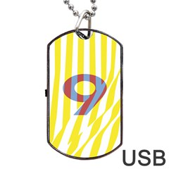 Number 9 Line Vertical Yellow Red Blue White Wae Chevron Dog Tag Usb Flash (two Sides) by Mariart