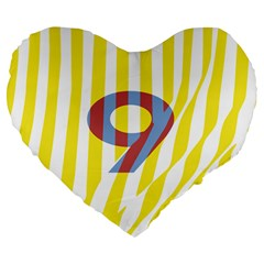 Number 9 Line Vertical Yellow Red Blue White Wae Chevron Large 19  Premium Flano Heart Shape Cushions by Mariart