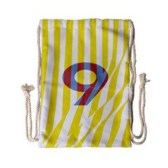 Number 9 Line Vertical Yellow Red Blue White Wae Chevron Drawstring Bag (small) by Mariart
