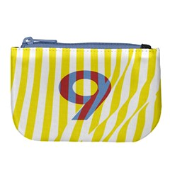 Number 9 Line Vertical Yellow Red Blue White Wae Chevron Large Coin Purse by Mariart