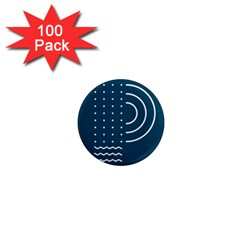 Parachute Water Blue Waves Circle White 1  Mini Magnets (100 Pack)  by Mariart