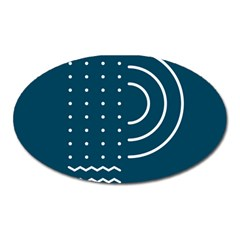 Parachute Water Blue Waves Circle White Oval Magnet by Mariart