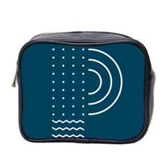 Parachute Water Blue Waves Circle White Mini Toiletries Bag 2 Side by Mariart