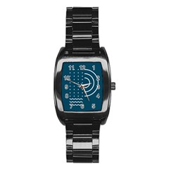 Parachute Water Blue Waves Circle White Stainless Steel Barrel Watch by Mariart