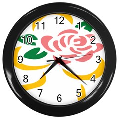 Pink Rose Ribbon Bouquet Green Yellow Flower Floral Wall Clocks (black) by Mariart