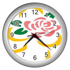 Pink Rose Ribbon Bouquet Green Yellow Flower Floral Wall Clocks (silver)  by Mariart