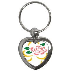 Pink Rose Ribbon Bouquet Green Yellow Flower Floral Key Chains (heart)  by Mariart