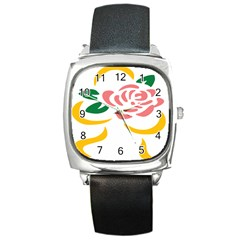 Pink Rose Ribbon Bouquet Green Yellow Flower Floral Square Metal Watch by Mariart
