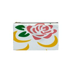 Pink Rose Ribbon Bouquet Green Yellow Flower Floral Cosmetic Bag (small)  by Mariart