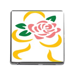 Pink Rose Ribbon Bouquet Green Yellow Flower Floral Memory Card Reader (square) by Mariart