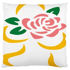 Pink Rose Ribbon Bouquet Green Yellow Flower Floral Large Cushion Case (two Sides) by Mariart