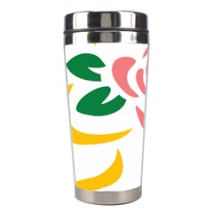 Pink Rose Ribbon Bouquet Green Yellow Flower Floral Stainless Steel Travel Tumblers by Mariart