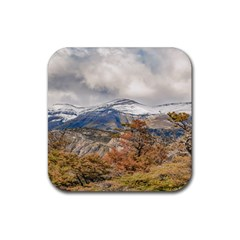 Forest And Snowy Mountains, Patagonia, Argentina Rubber Coaster (square)  by dflcprints