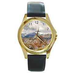 Forest And Snowy Mountains, Patagonia, Argentina Round Gold Metal Watch by dflcprints