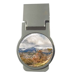 Forest And Snowy Mountains, Patagonia, Argentina Money Clips (round)  by dflcprints