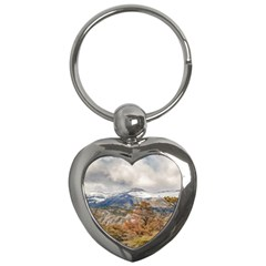 Forest And Snowy Mountains, Patagonia, Argentina Key Chains (heart)  by dflcprints