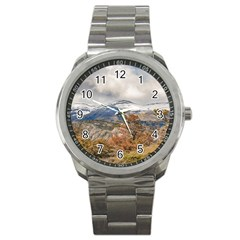 Forest And Snowy Mountains, Patagonia, Argentina Sport Metal Watch by dflcprints