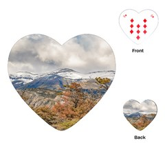 Forest And Snowy Mountains, Patagonia, Argentina Playing Cards (heart)  by dflcprints