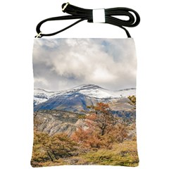 Forest And Snowy Mountains, Patagonia, Argentina Shoulder Sling Bags by dflcprints