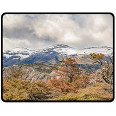 Forest And Snowy Mountains, Patagonia, Argentina Fleece Blanket (medium)  by dflcprints