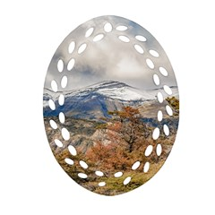 Forest And Snowy Mountains, Patagonia, Argentina Oval Filigree Ornament (two Sides) by dflcprints