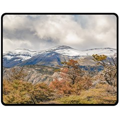 Forest And Snowy Mountains, Patagonia, Argentina Double Sided Fleece Blanket (medium)  by dflcprints