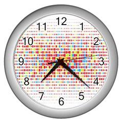 Random Sized Cube Multiple Plaid Color Rainbow Wall Clocks (silver)  by Mariart