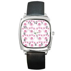 Rabbit Feet Paw Pink Foot Animals Square Metal Watch by Mariart