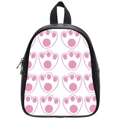 Rabbit Feet Paw Pink Foot Animals School Bags (small)  by Mariart