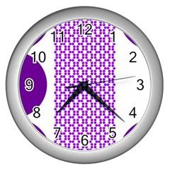 River Hyacinth Polka Circle Round Purple White Wall Clocks (silver)  by Mariart