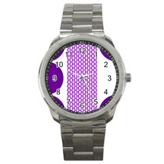 River Hyacinth Polka Circle Round Purple White Sport Metal Watch by Mariart