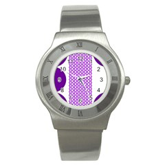 River Hyacinth Polka Circle Round Purple White Stainless Steel Watch by Mariart