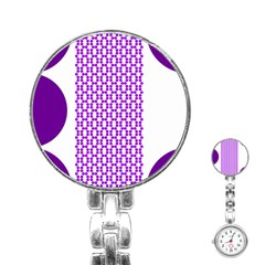 River Hyacinth Polka Circle Round Purple White Stainless Steel Nurses Watch by Mariart