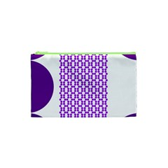 River Hyacinth Polka Circle Round Purple White Cosmetic Bag (xs) by Mariart