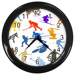 Sport Player Playing Wall Clocks (black) by Mariart