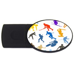Sport Player Playing Usb Flash Drive Oval (2 Gb) by Mariart