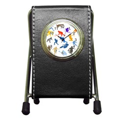 Sport Player Playing Pen Holder Desk Clocks by Mariart