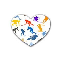 Sport Player Playing Heart Coaster (4 Pack)  by Mariart